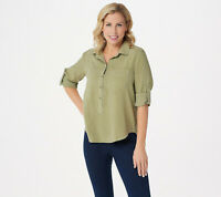 Side Stitch Tencera Button Front Short-Sleeve Top Light Mist S NEW A350095