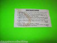 POKERINO By WILLIAMS 1978 ORIGINAL PINBALL MACHINE 2 SIDED INSTRUCTION CARD