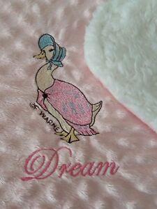 personalised dimple fleece baby blanket Jemima puddleduck luxury sherpa backing