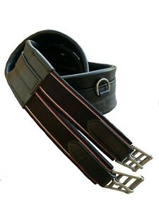 Equestrian Black Genuine Leather Padded Girth elasticated (Martingale Ring)
