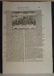 PAROS GREECE 1690 CORONELLI UNUSUAL ANTIQUE COPPER ENGRAVED NAVAL BATTLE VIEW