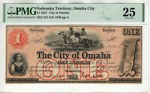 1857 $1 CITY OF OMAHA NEBRASKA TERRITORY OBSOLETE NOTE PMG VERY FINE VF 25 (063)