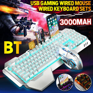 Rechargeable Wireless Gaming Keyboard Mouse Set Rainbow LED Backlit Mice USB