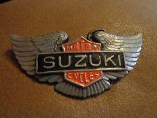 Vintage Suzuki Motorcycles Belt Buckle Enameled - Pewter