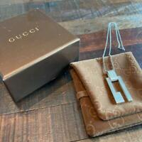 GUCCI Vintage Initial G Pendant Top Necklace Sterling Silver 925 SV925 W/Box