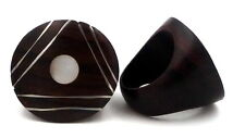 Hand Crafted Silver Ebony Wood Mother of Pearl Ring Bali Size R or S