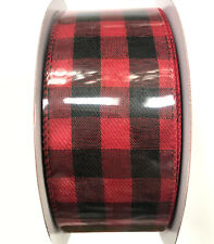 """Red and Black Buffalo Plaid Ribbon Roll 75 Ft x 2.5"""" Wire Edged Checkered Gift"""