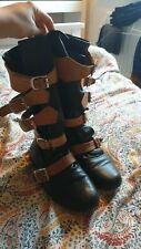 VIVIENNE WESTWOOD PIRATE BOOTS BLACK AND TAN SIZE UK 3 LEATHER BUCKLE