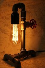 Olde Worlde Style / Industrial Bedside / Table / Tap Lamp / Cast Iron Light