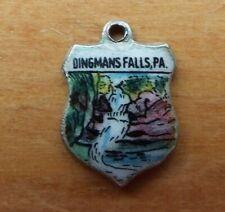 Enamel Travel Shield Charm Germany Vintage Dingmans Falls, Pa Sterling Silver