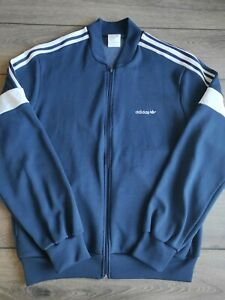 Men's Vintage Adidas Navy Blue Zip Up Cotton Polyester Track Top Size L