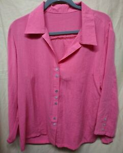 Fridaze Salmon Pink Button Up Long Sleeve Linen Blouse Shirt Top Large