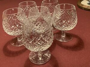 """6 Waterford Crystal ALANA Brandy Cognac Glasses Snifter 5-1/8"""""""