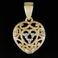 DIAMOND FILIGREE PENDANT. 9K SOLID GOLD HEART VINTAGE ANTIQUE STYLE + 7 DIAMONDS