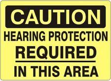 "CAUTION HEARING PROTECTION SIGN SAFETY OSHA 10"" X 14"" (.050 RIGID PLASTIC)"