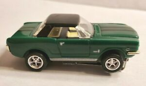 65 MUSTANG GREEN, BLACK H.T.   HO SCALE SLOT CAR, CHROME WHEELS AND TIRES