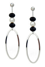 Ella Jonte Earrings Silver White Black Long Pearl Stud Earrings Bead Earrings