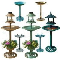 Bird Bath Feeder Bowl With Solar Light Garden & Patio Bird Feeding Table Station
