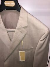 NWT Michael Kors 44S Tan Hint Of Peach Designer Suit Pinstriped Beige 100% Wool