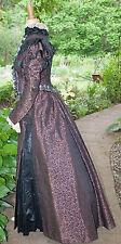 ANTIQUE DRESS 1890's HIGH NECK 2-PC VISITING GOWN MUSEUM DE-ACCESSIONED LABEL