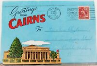 .1956 CAIRNS & DISTRICT FOLDOUT COLOUR & B&W SOUVENIR POSTCARD.