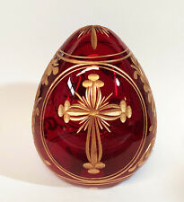 """Collectible Genuine Russian Glass Egg AUTHENTIC Russian Cross Doves Red 4"""""""