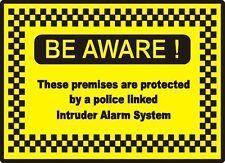 1X Police Linked Intruder Alarm System Sign board SIZE 300MMX200MM 1.8MM PLASTIC