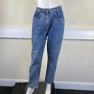 Ladies Blue Vintage Acid Wash Denim High Waisted Mom Style Jeans UK Size 10