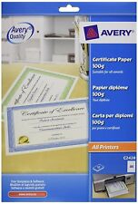 Avery Certificate Paper Green Border 110g A4 10 Sheets Pack Sheet C2428 Awards