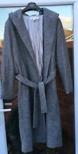 H&M GREY BELTED MIDI WOOL MIX COAT WITH HOOD SIZE EUR M