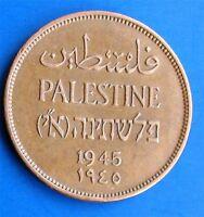 Israel Palestine British Mandate 2 Mils 1945 Coin XF