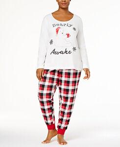 """Family Pajamas Women's """"Bearly Awake"""" Pajama Set; Red/White/Black (3X)"""