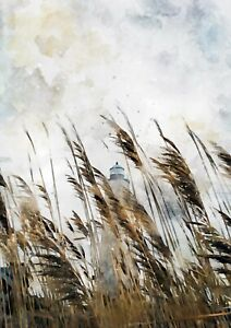 Lighthouse behind grass, watercolour painting unique artwork gift (print)