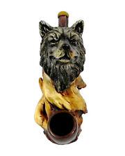 Wolf Head Handmade Tobacco Smoking Hand Pipe Totem Spirit Animal Wildlife Wolves