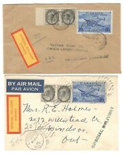 1946 Canada -2x London/Toronto, Ontario 17c Special Delivery Airmail Rate Covers