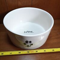 "RAE DUNN Devour Pet Cat Dog Bowl Artisan Collection Ceramic Pet Dish 6""w Magenta"