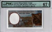 Congo 2000 500 Francs PMG Certified Banknote UNC 67 EPQ Superb Gem 101Cg African