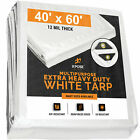 White Heavy Duty Poly Tarp Waterproof Cover Tent Car Boat Cover 12 Mil