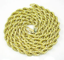"24"" Inch 5mm 9 Grams Mens Ladies 10k Yellow Gold Rope Hip Hop Chain Necklace"