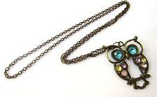 "Vintage Rainbow Rhinestones Bronze Wise Owl 26"" Necklace Brand New UK Seller"