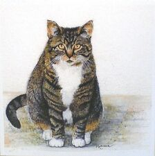 Art Greeting Card Cat Kitty Calico Pet Paws Painting Watercolor Picture
