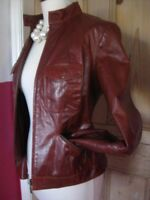 Ladies M&S brown tan leather JACKET COAT UK 10 8 biker cafe racer retro 1960s