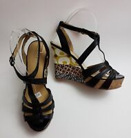 Nine West Shoes Sandals Black Multi-Color Wedge Heels 7 Greta Womens Size 6.5 M