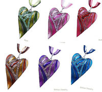 Retro Crystal Heart Leaf Lampwork Pendant Sweater Chain Necklace Women Gift