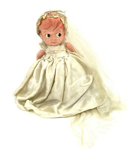 """1930's Celluloid Doll-7""""- Carnival Bride Type- Fancy Outfit, Sweet Face -"""