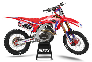 NEW DIRTX INDUSTRIES HONDA HRC BLUE COMPLETE GRAPHICS CR CRF 125 150 250 450