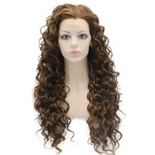Long Curly Brown Highlight Heat Friendly Fiber Hair Natural Synthetic Wig