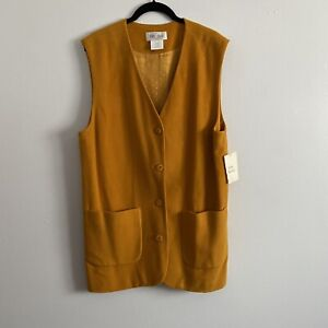 First Issue L Vtg 90s Sleeveless Cardigan Tunic Top Topper Wool Marigold Yellow