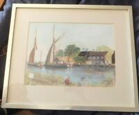 Signed Pastel Painting  Landscape The Quay Snape Maltings by H Simpson 1985