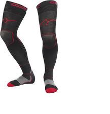 NEW ALPINESTARS LONG TECH THICK MOTOCROSS KNEE BRACE SOCKS BLACK RED ALL SIZES